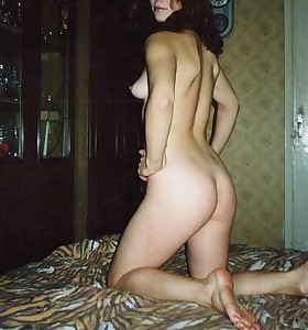 Naughty hotties and juicy booty housewives posing undressed and showing their taut non-professional booties and pussies.